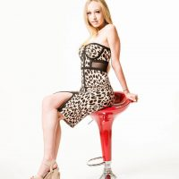 Beautiful young American model wearing a leopard patterned dress and high heels