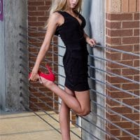 Beautiful young American blonde model Alyssa Hensley wearing a black dress with red stiletto high heels