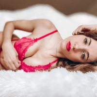 Beautiful Argentine model Camila Sol Botti wearing red Mariu lingerie in a quick sexy photo session