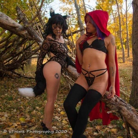 Hot little riding hood @shyanmodeling and the big bad wolf @andi_markin showing off their sexy body, fit abs and hot legs in a boudoir photo session by Jerry Stecko @boudoir4u