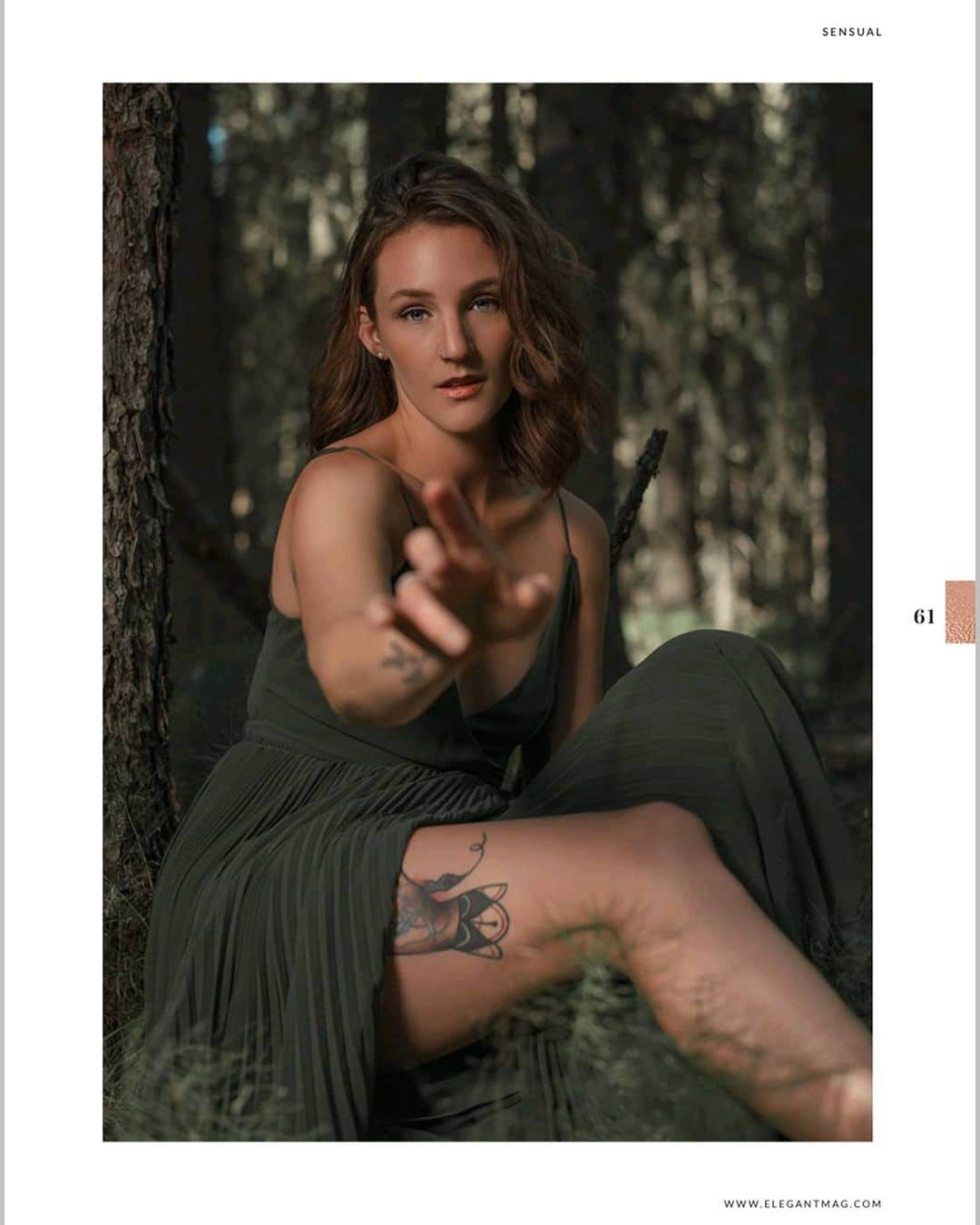 Beautiful inked Canadian model Robyn LS @robin.in.the.clouds bare foot in the woods wearing a green dress for a boudoir photo session by Kelvin Vinx Comendador @vinxreddervon