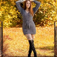 Beautiful Canadian model Stephanie Chouinard @stephaniechouinard wearing a short dress and high black boots in a colourful sexy autumn photo session by Jerome Therrien @photographe_gg
