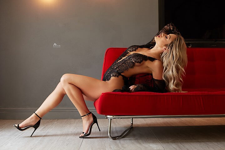 Beautiful blonde Penthouse model Kenzie Mac @petkenzm showing her long legs and hot body wearing black lace lingerie and high heels in a sexy photo session by RW Llister photography @rwlisterphotography2