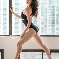 Beautiful Canadian ballet dancer in various poses wearing black dancing gear showing some hot booty